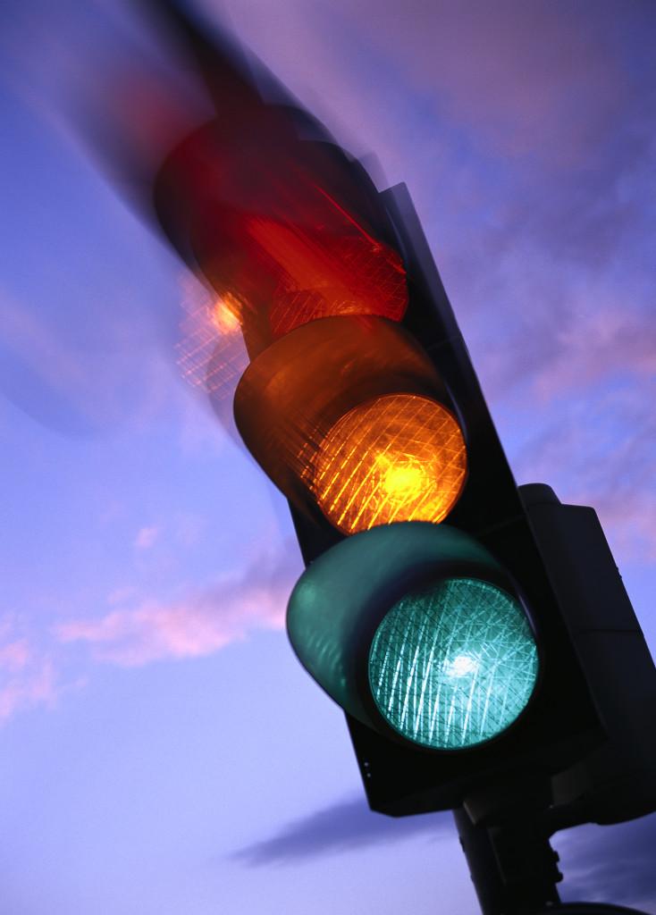 Leuchtende Verkehrsampel